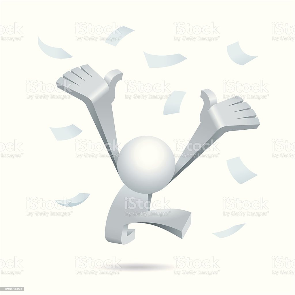 Simplified man Win the Lottery royalty-free stock vector art