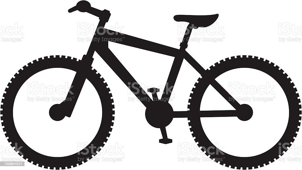 Simplified Mountain Bike Silhouette vector art illustration