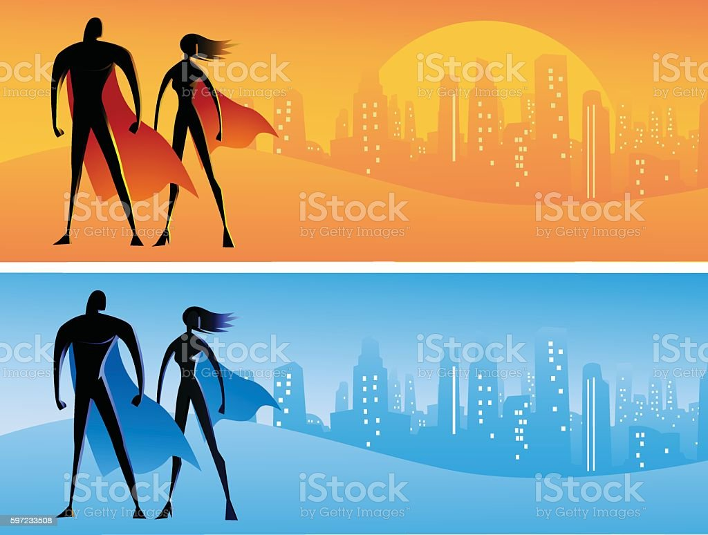 Simplified Superhero Silhouette and background Illustration vector art illustration