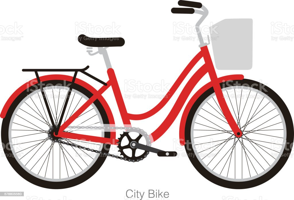 Simplified vector city bike, illustration vector art illustration