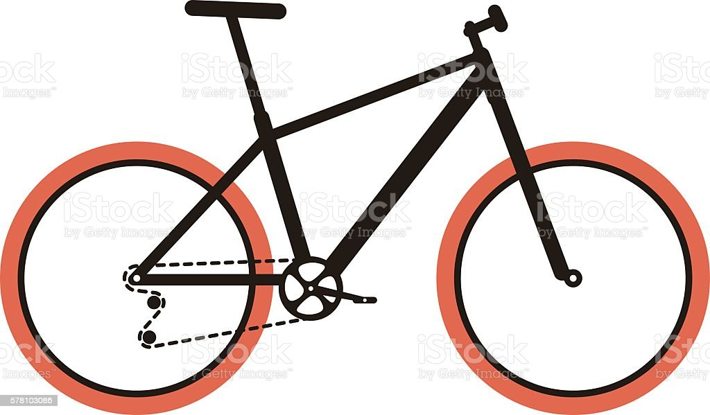 Simplified vector mountain bike vector art illustration