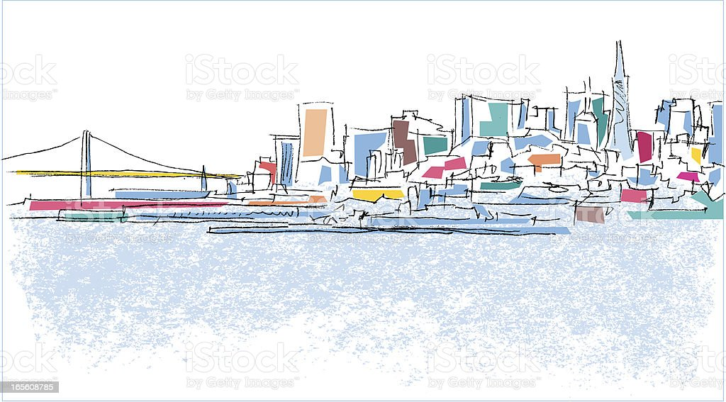 A simplistically colored outline of a city scape vector art illustration