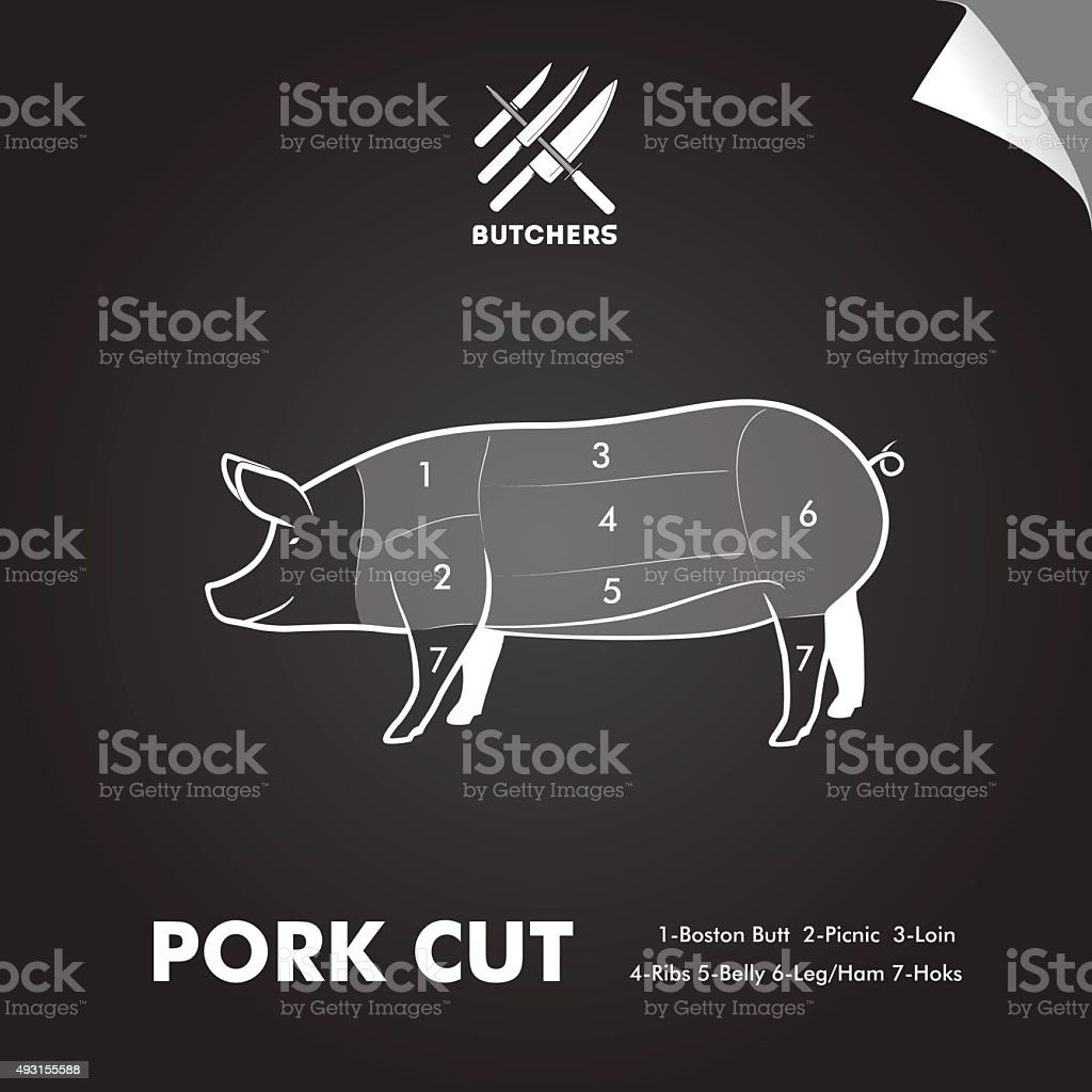 Simply meat cut diagram vector art illustration