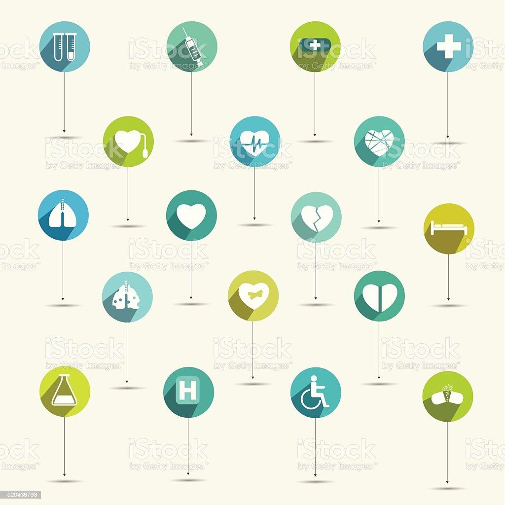 Simply minimalistic flat hospital and medical symbol icon set. vector art illustration