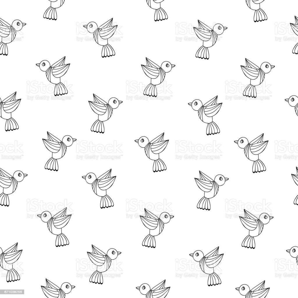 Simply seamless pattern with black line birds on the white background vector art illustration