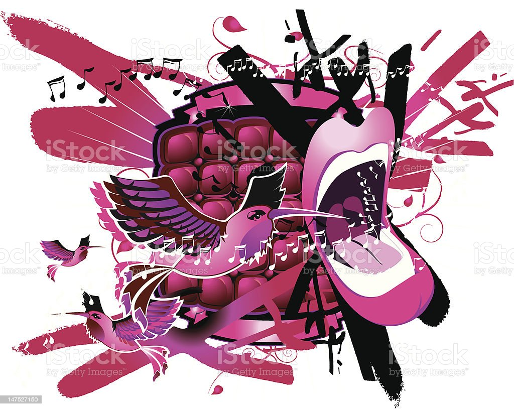 sing pink royalty-free stock vector art