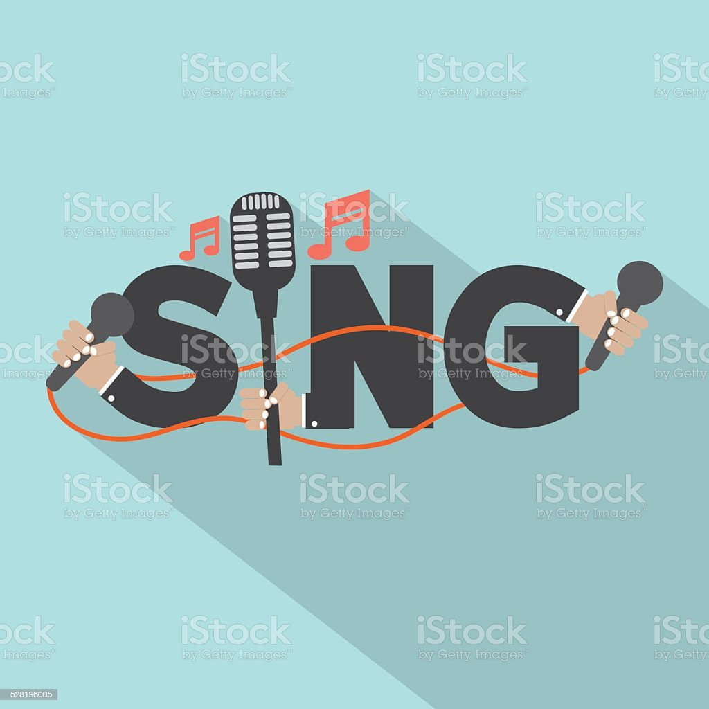Sing Typography With Microphones Design vector art illustration