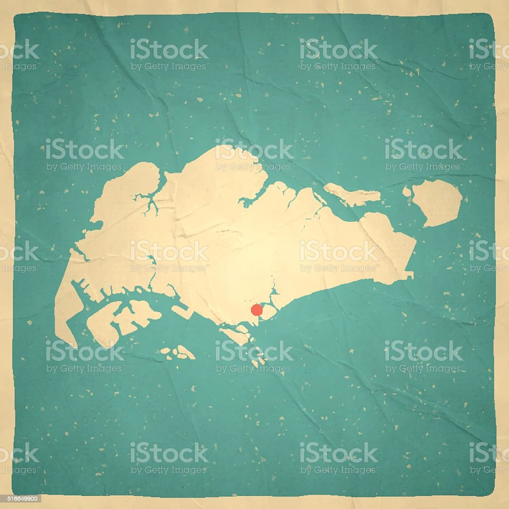 Singapore Map on old paper - vintage texture vector art illustration
