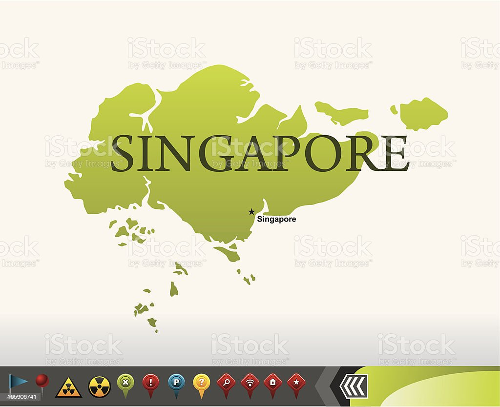 Singapore map with navigation icons vector art illustration