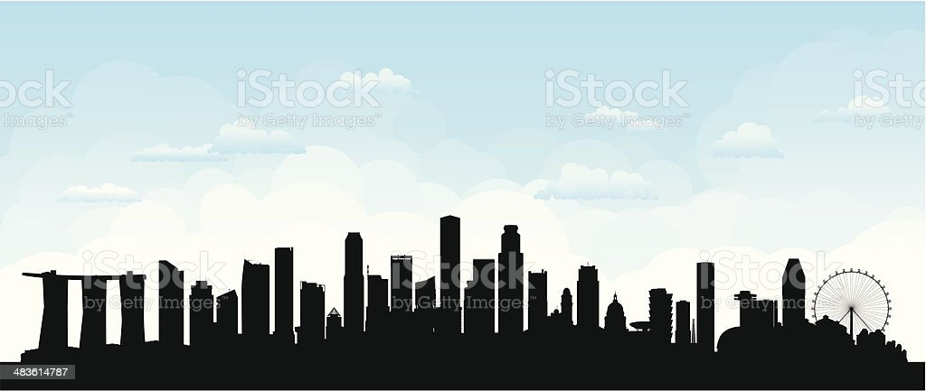 Singapore (Buildings Are Detailed, Moveable and Complete) vector art illustration