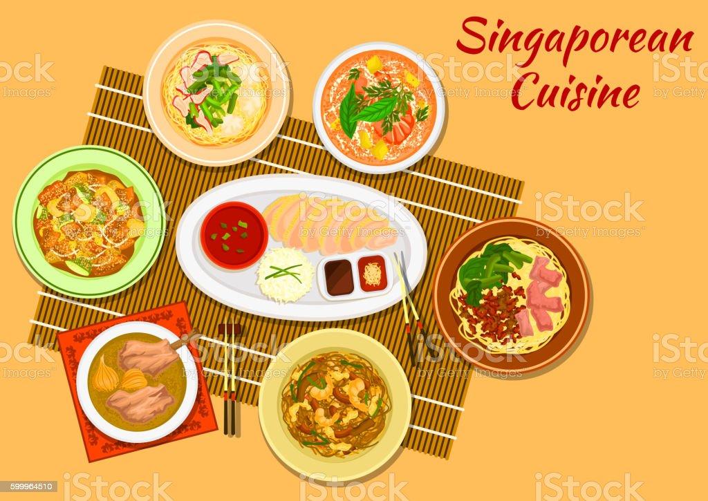 Singaporean cuisine popular dinner dishes icon vector art illustration