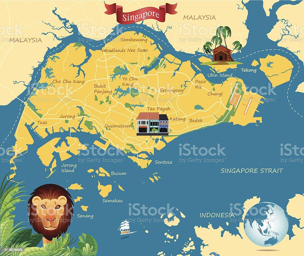 Singapure Map vector art illustration