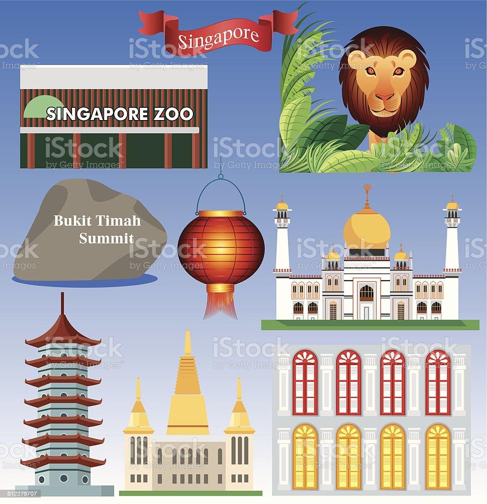 Singapure Symbols-2 vector art illustration