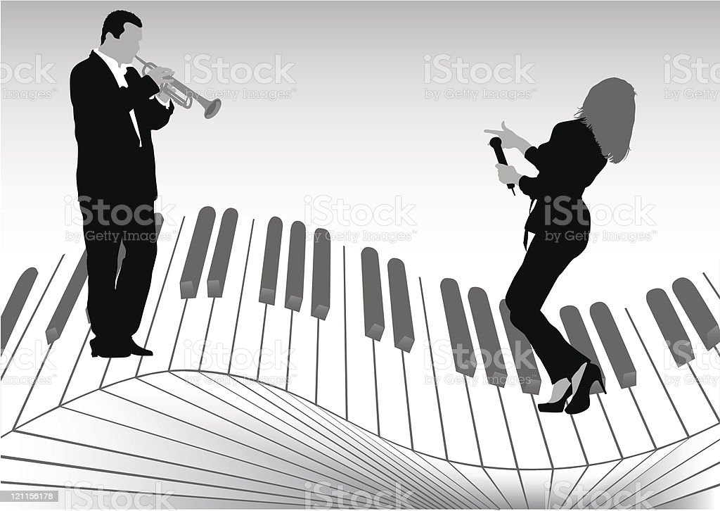 Singer and trumpet royalty-free stock vector art