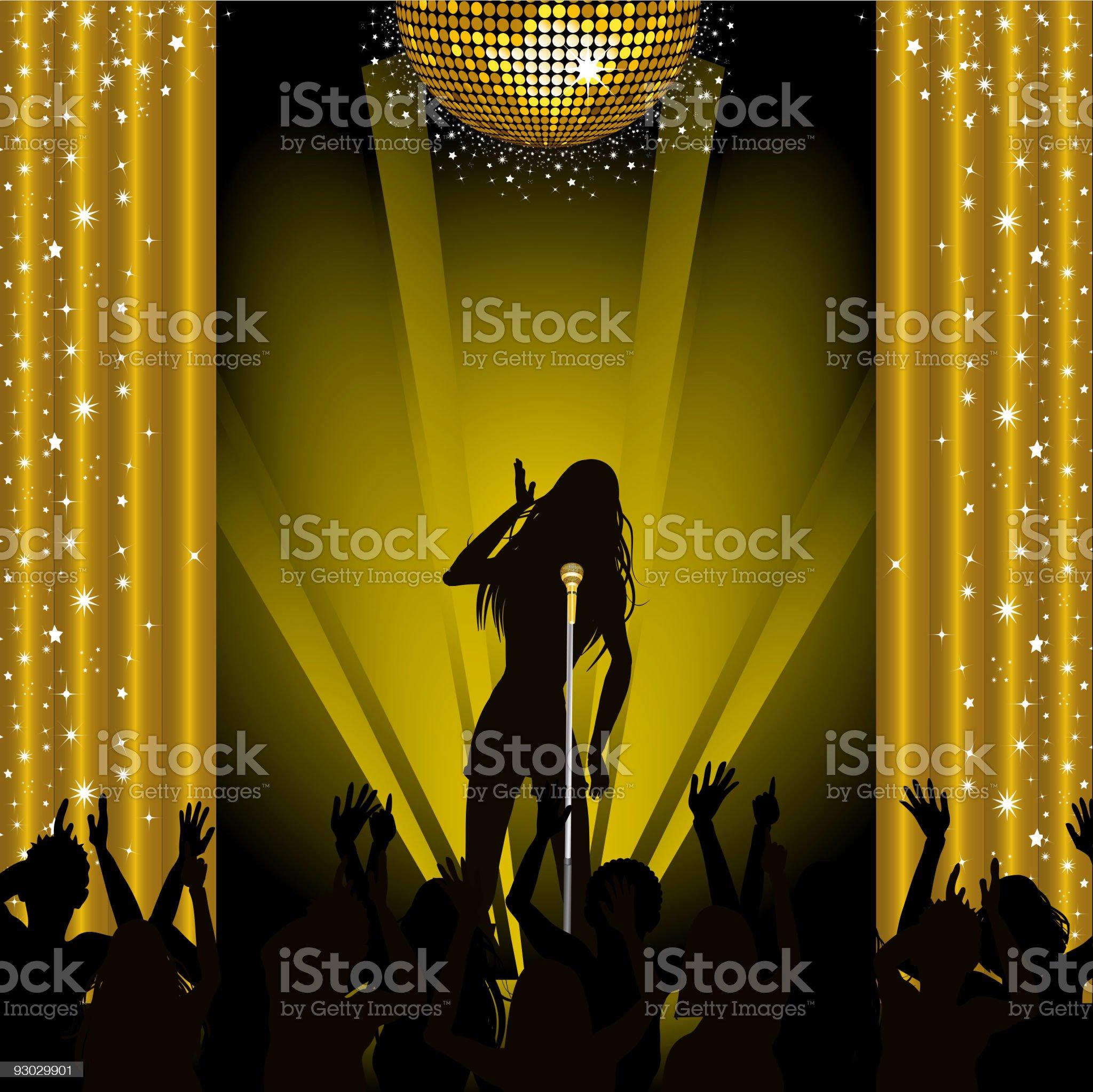 Singer in concert royalty-free stock vector art