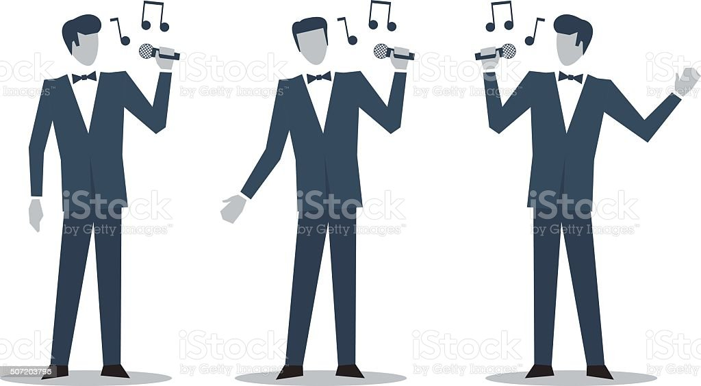 Singer in suit illustration vector art illustration