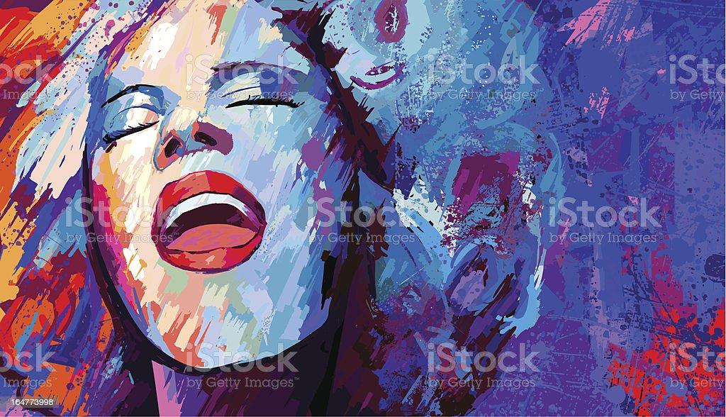singer on grunge background vector art illustration