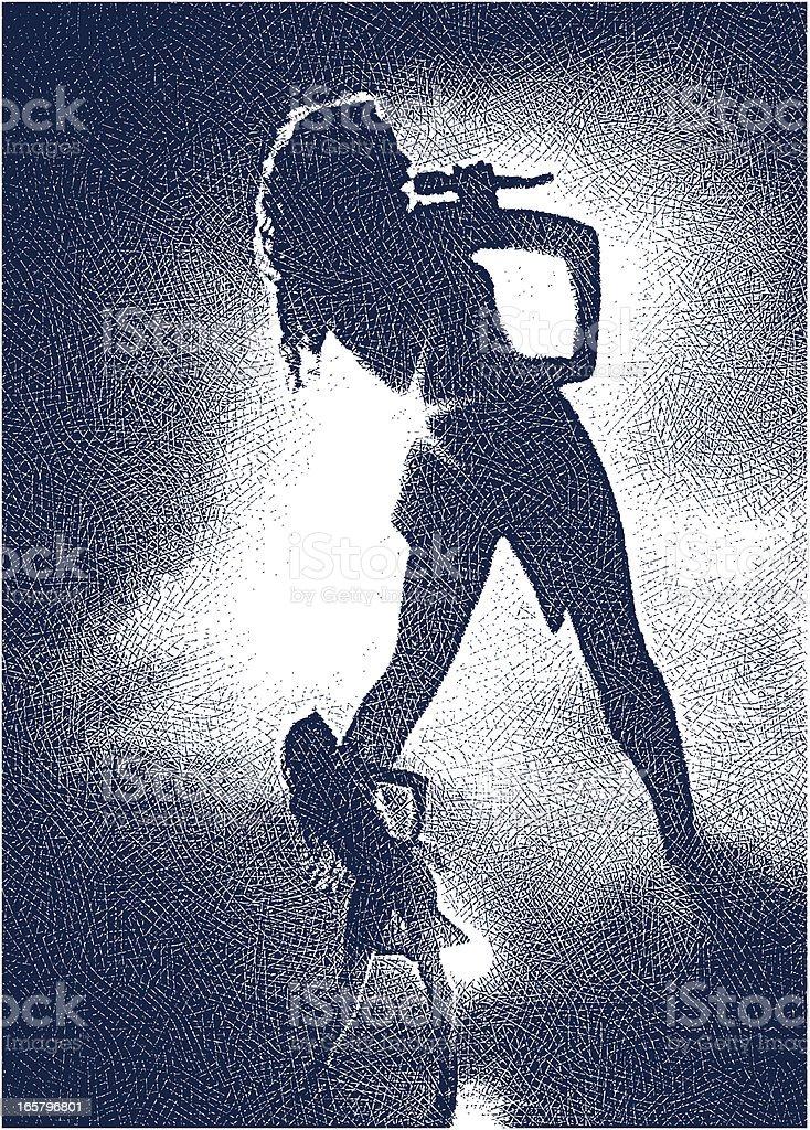 Singer Performing vector art illustration