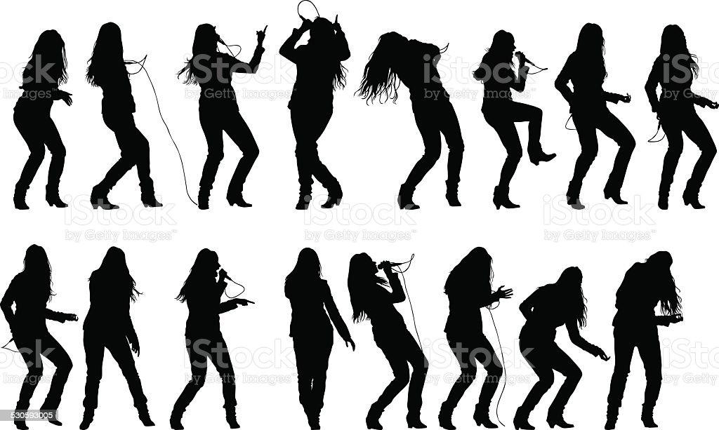 Singer rock women vector art illustration