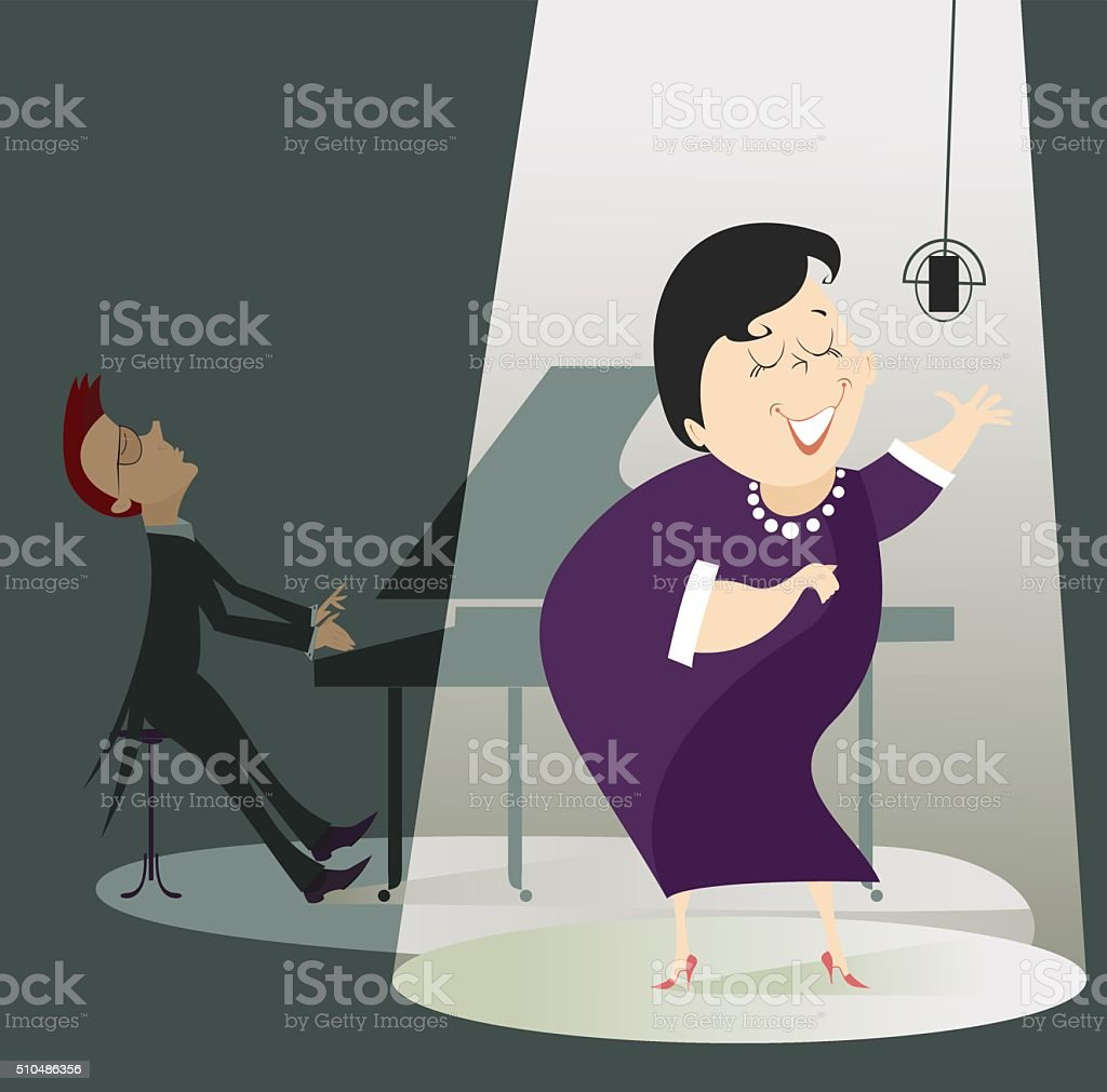 Singer woman and a pianist vector art illustration