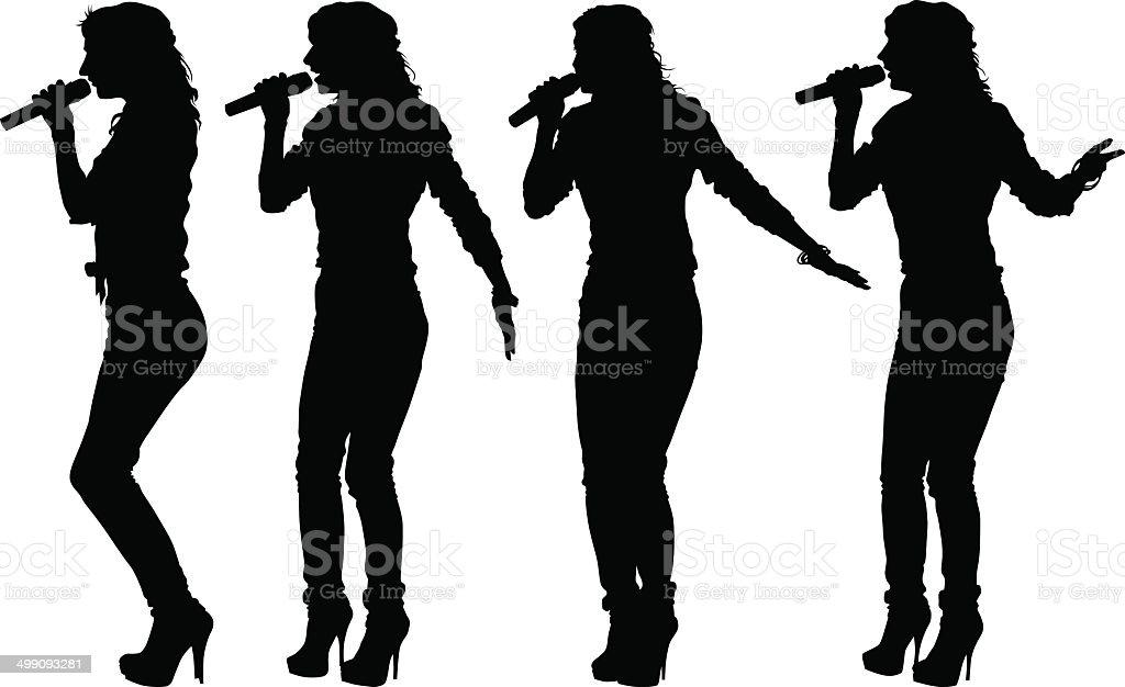 Singer women vector art illustration