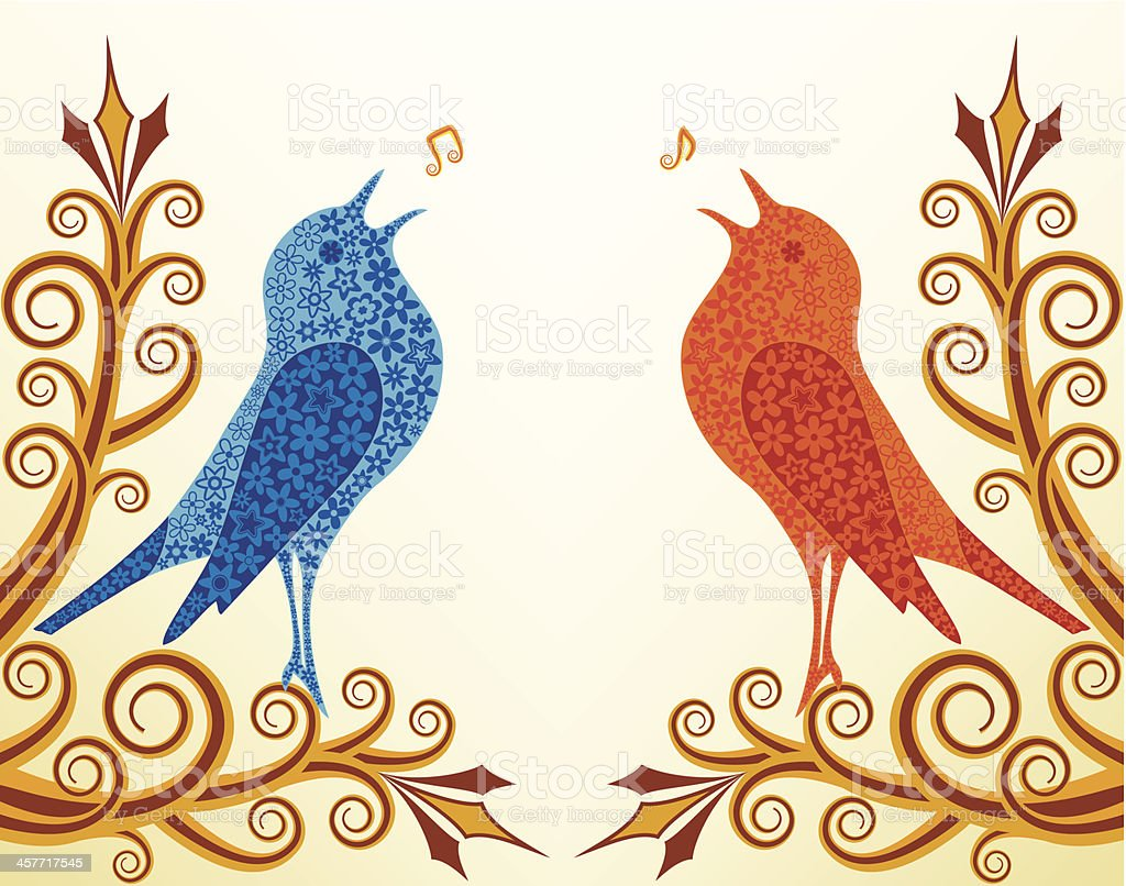 Singing a Duet vector art illustration