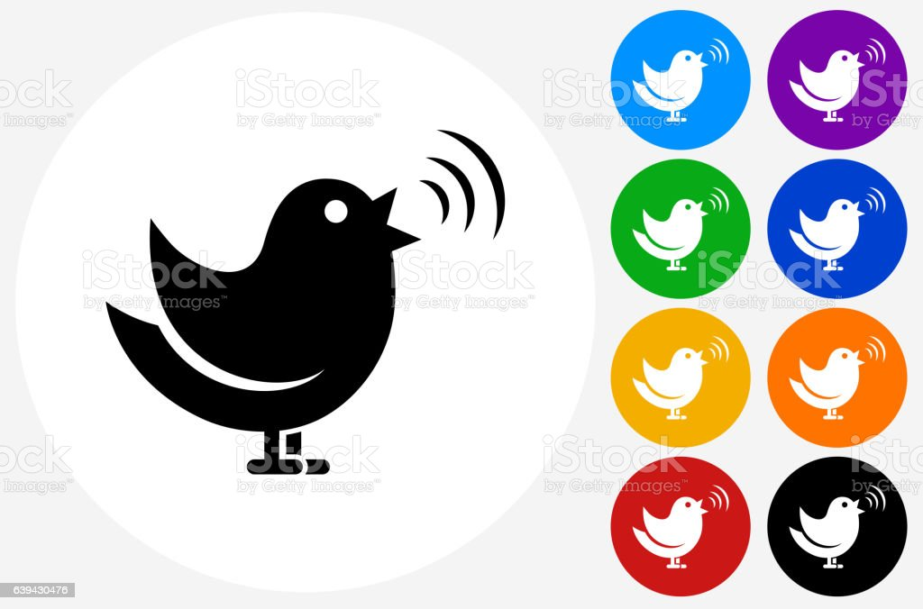 Singing Bird Icon on Flat Color Circle Buttons vector art illustration