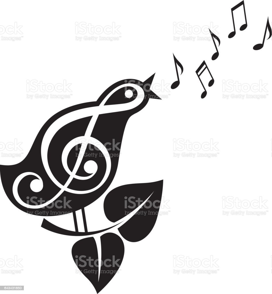 singing bird icon vector art illustration