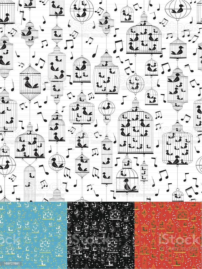 Singing Birds Wallpaper royalty-free stock vector art