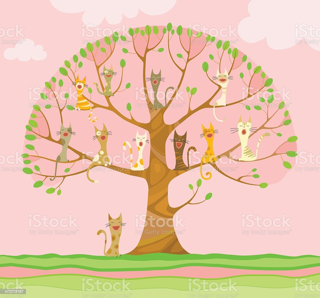 Singing cats on the tree royalty-free stock vector art