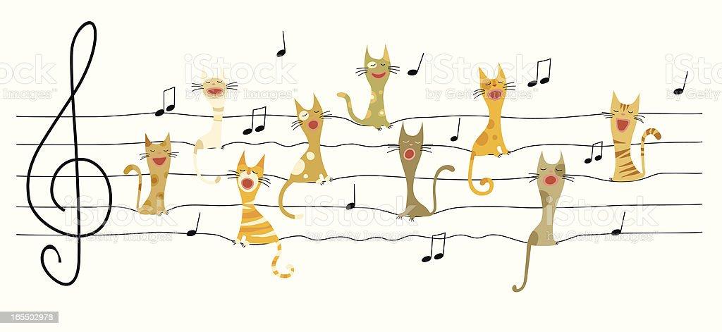 Singing cats royalty-free stock vector art