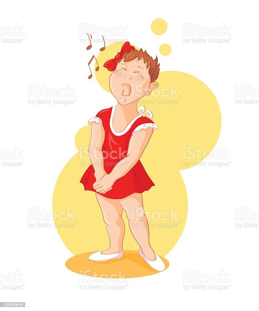 Singing girl vector art illustration