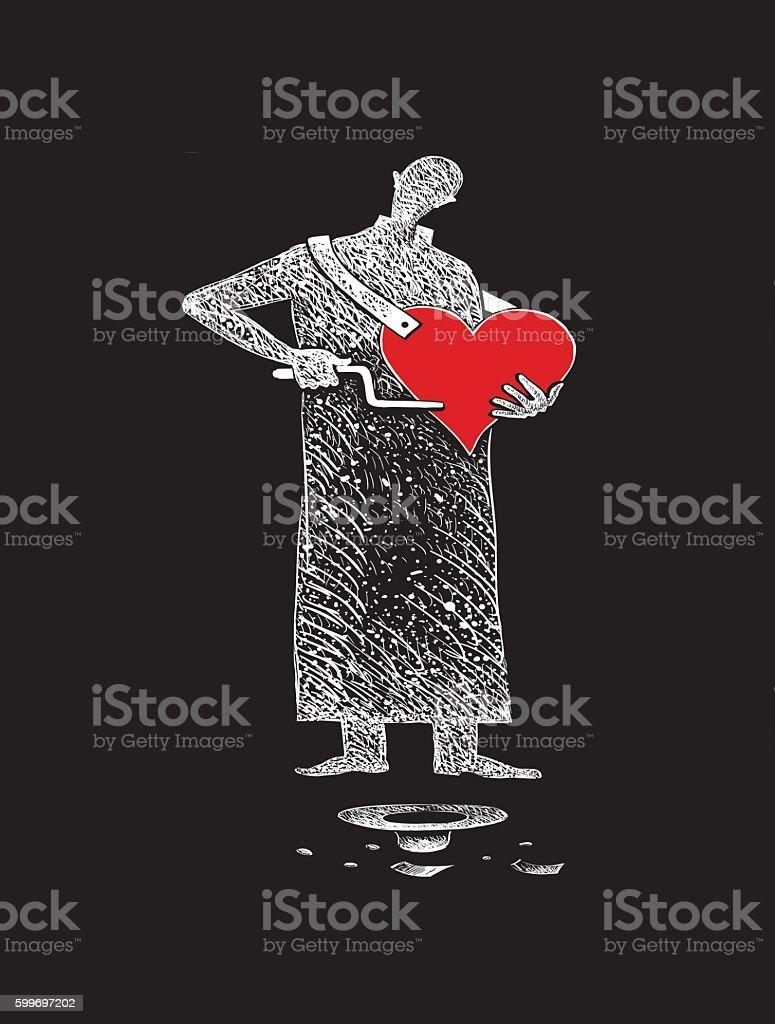 Singing heart vector art illustration