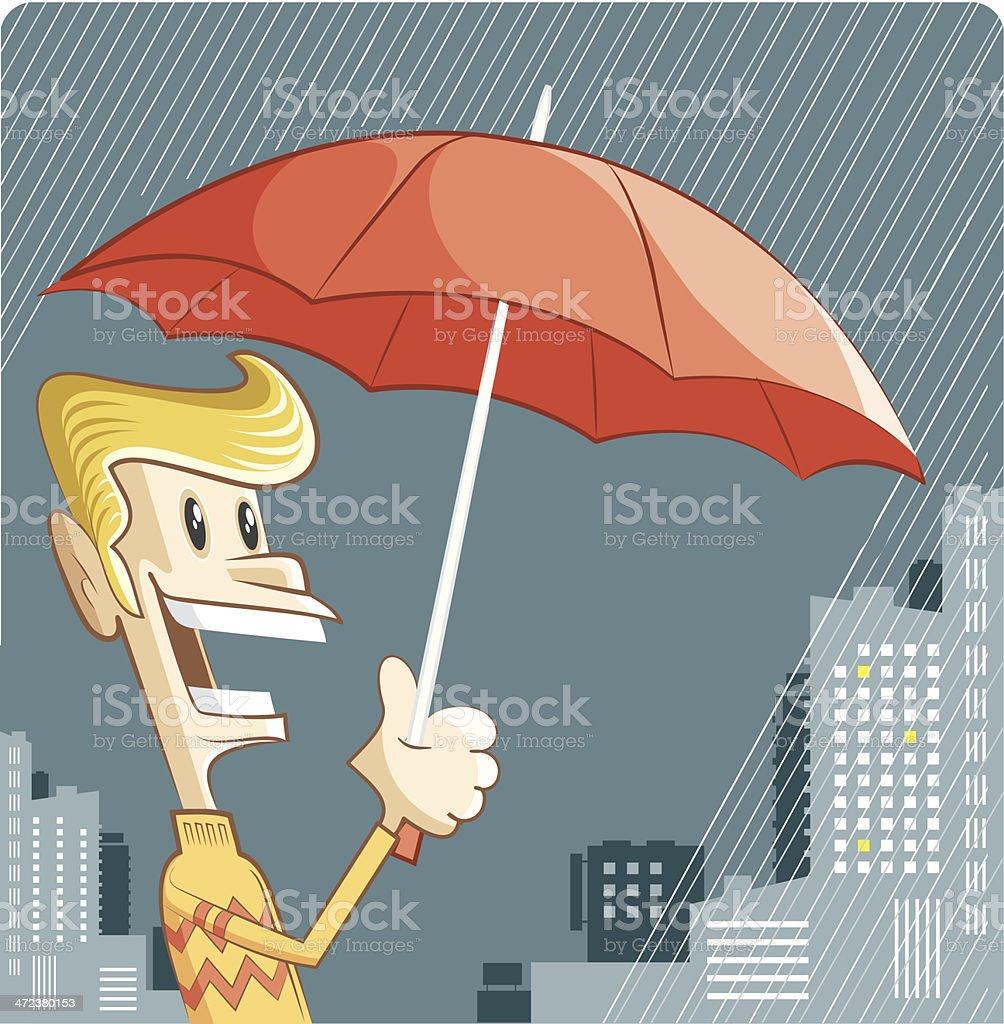 singing in the rain vector art illustration