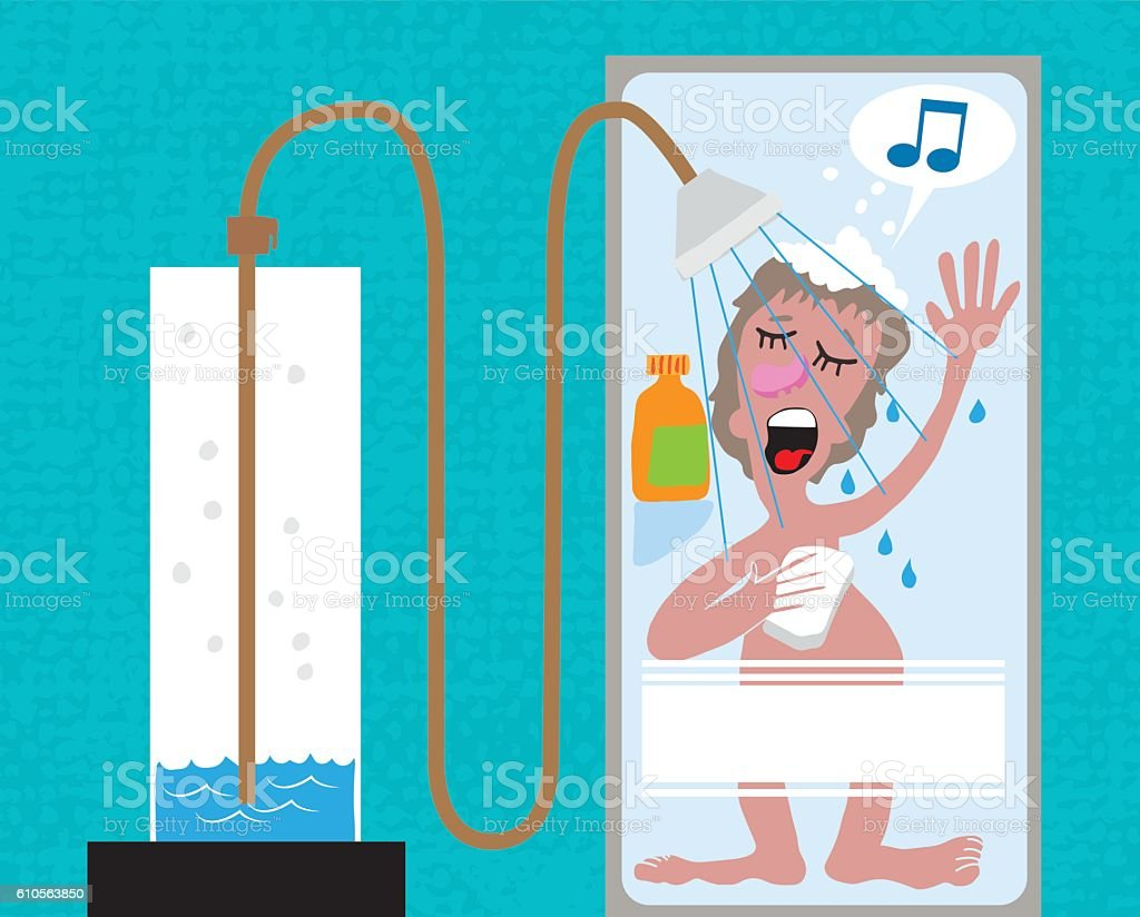 Singing in the shower and running out of hot water vector art illustration