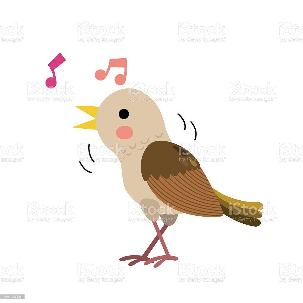 Singing Nightingale bird animal cartoon character vector illustration. vector art illustration