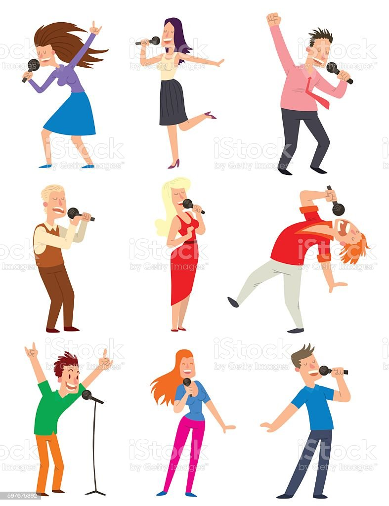 Singing people vector set. vector art illustration