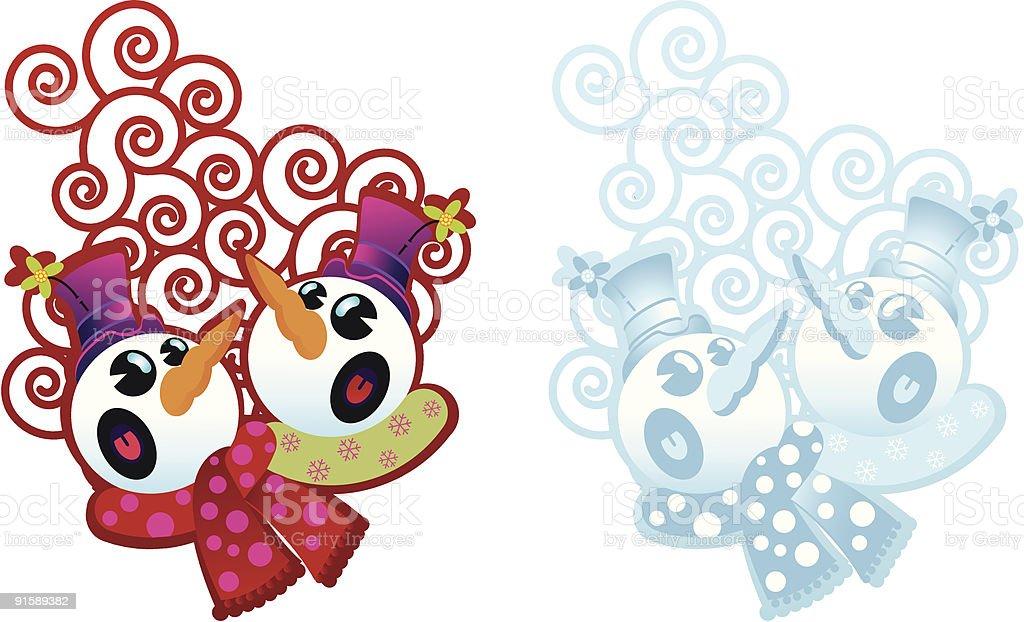 singing snowman borders royalty-free stock vector art