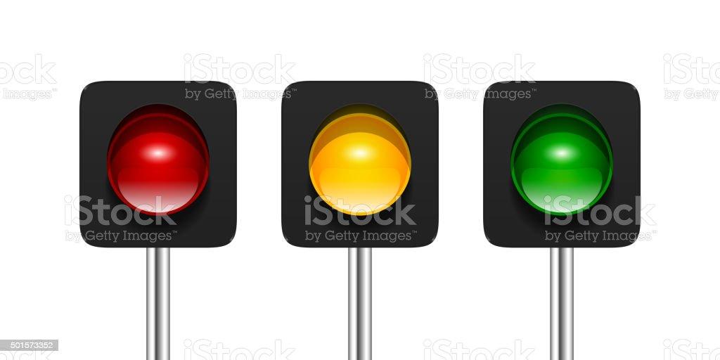 Single Aspect Traffic Lights vector art illustration