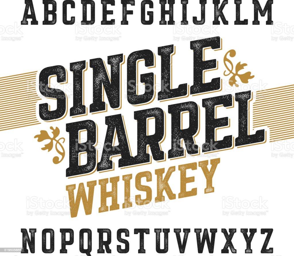 Single barrel whiskey label font vector art illustration