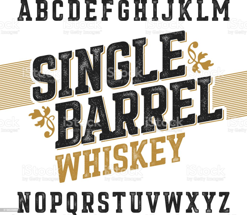 Single barrel whiskey label font vector art illustration