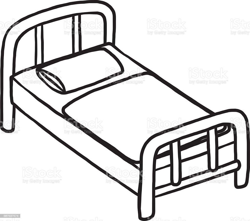einzelbett bett vektor illustration 587537574 istock. Black Bedroom Furniture Sets. Home Design Ideas