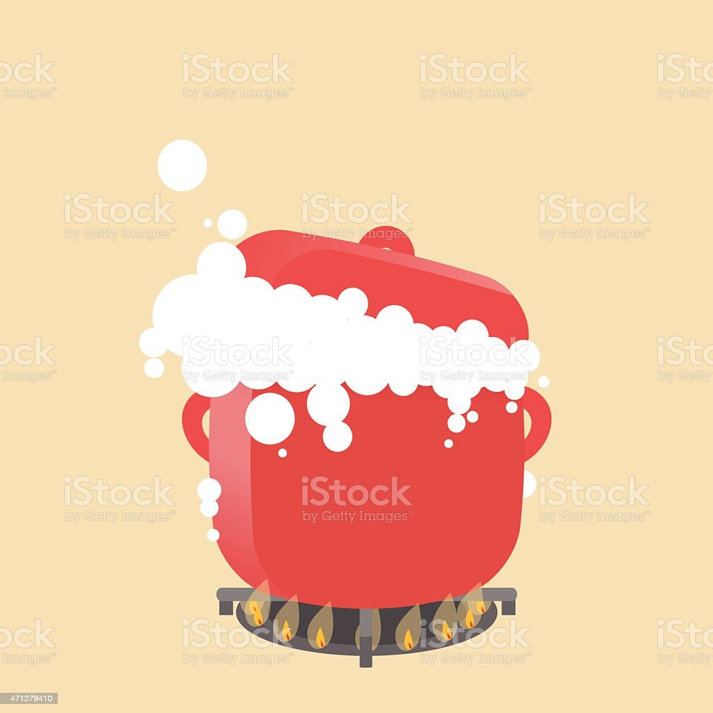 Single big red pot on boiling on the stove. vector art illustration