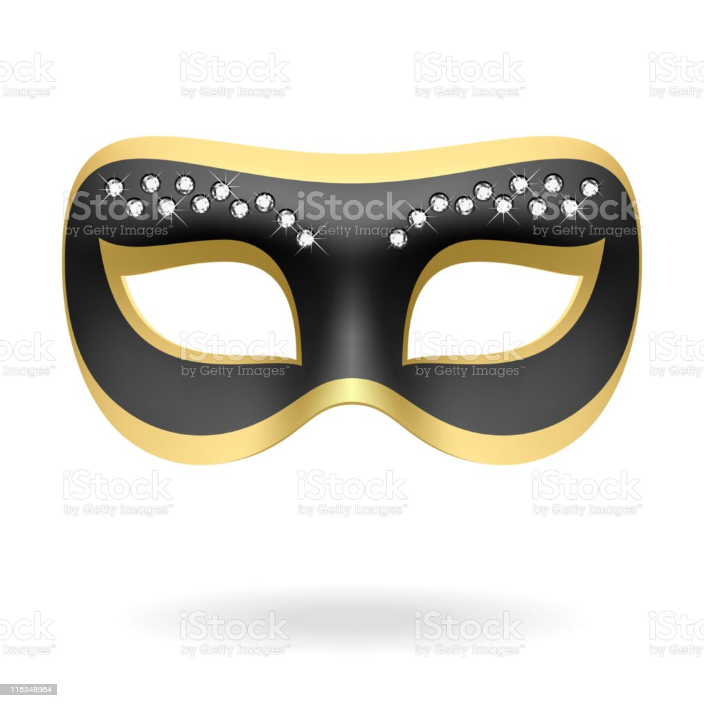 A single black and gold masquerade mask royalty-free stock vector art