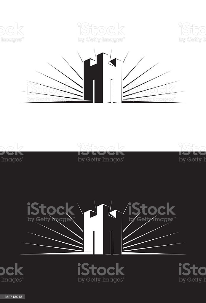 Single Castle Tower vector art illustration