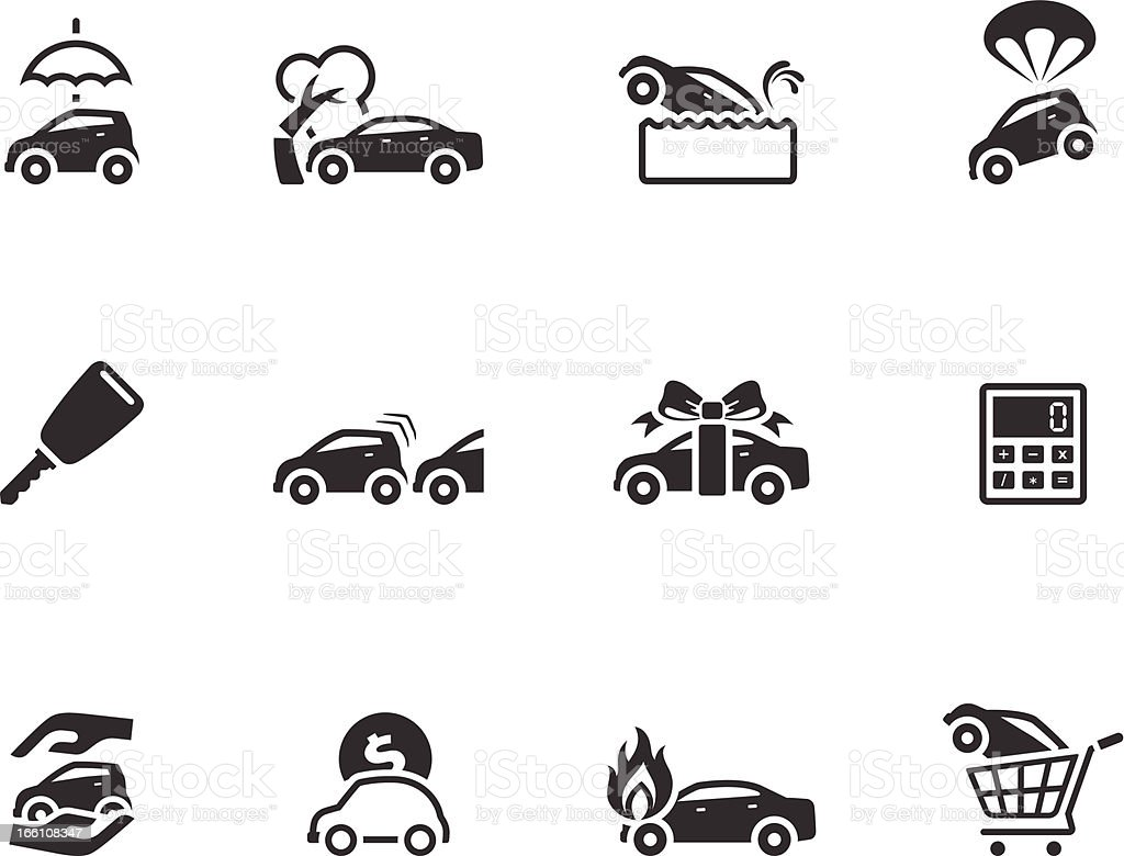 Single Color Icons - Auto Insurance royalty-free stock vector art