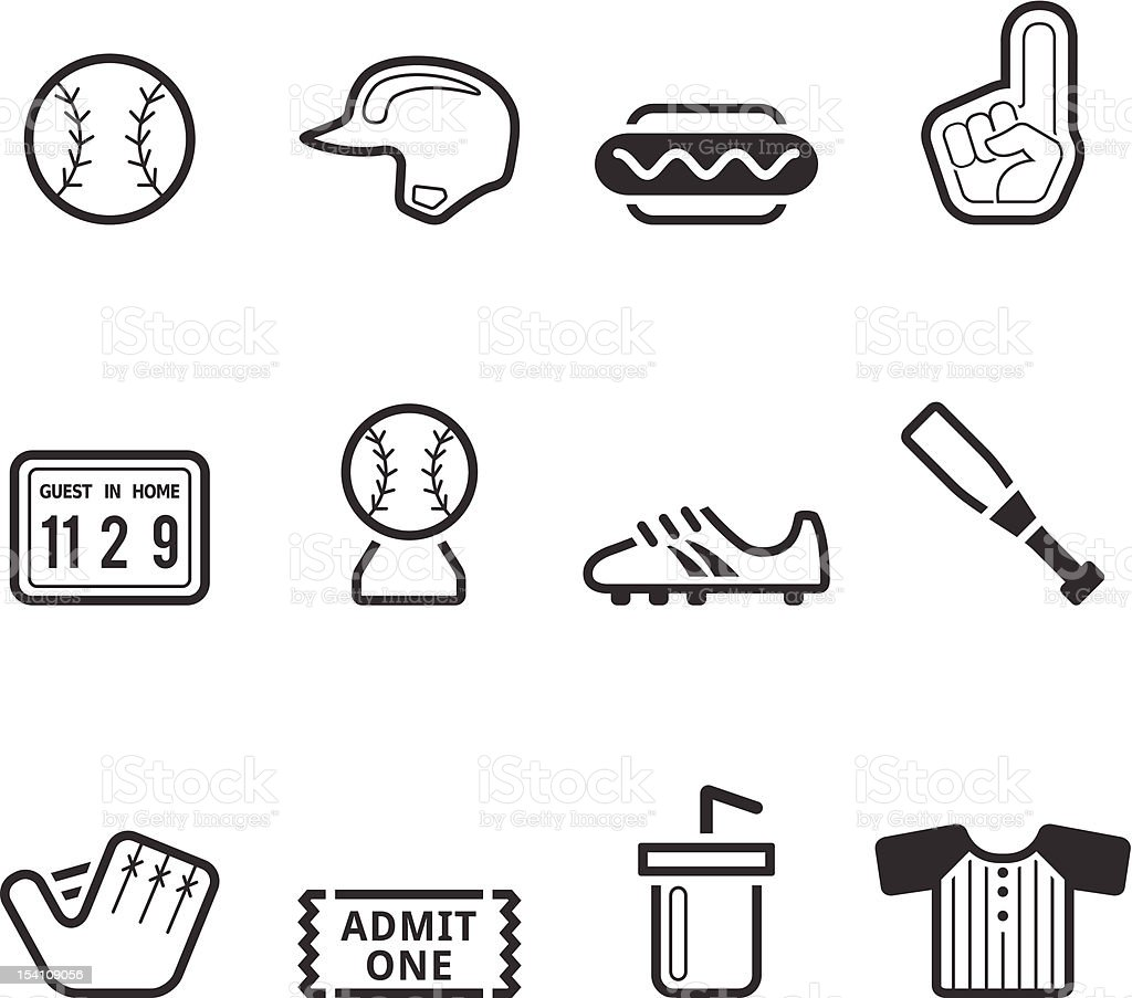 Single Color Icons - Baseball royalty-free stock vector art