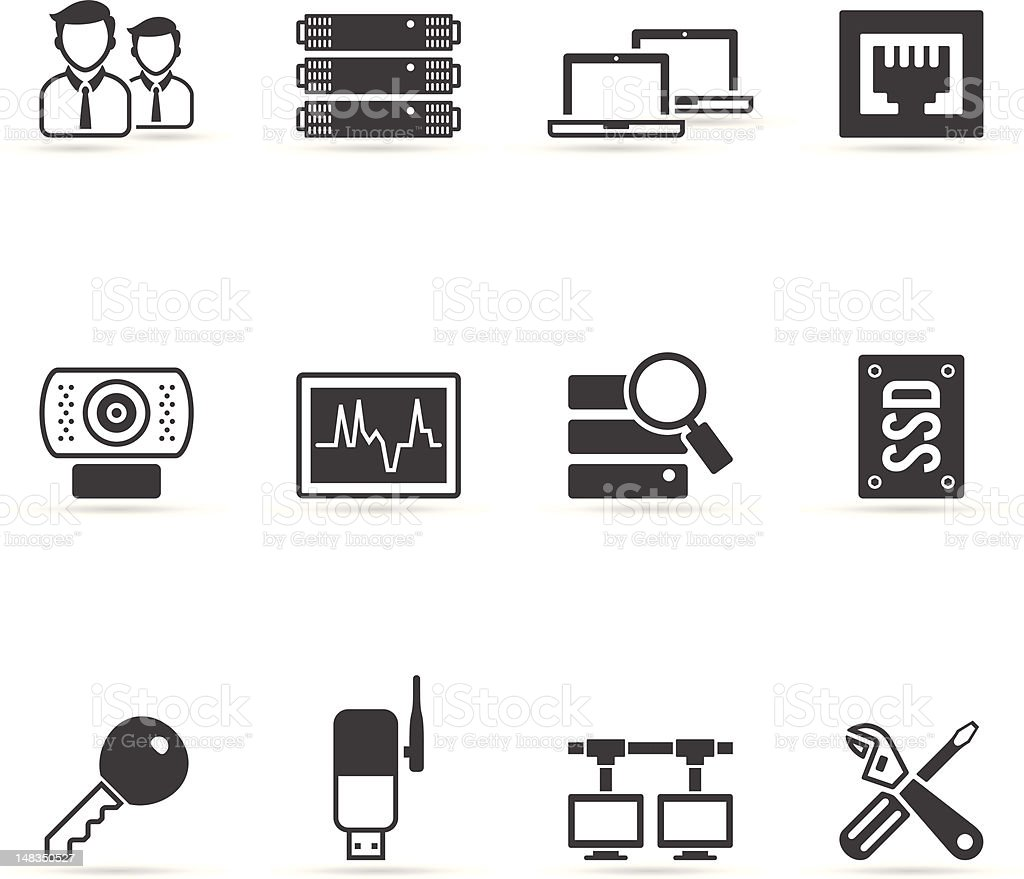 Single Color Icons - More Computer Network royalty-free stock vector art