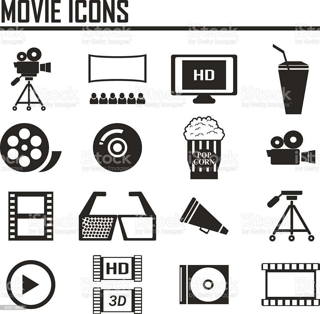 Single Color Icons - Movies vector art illustration