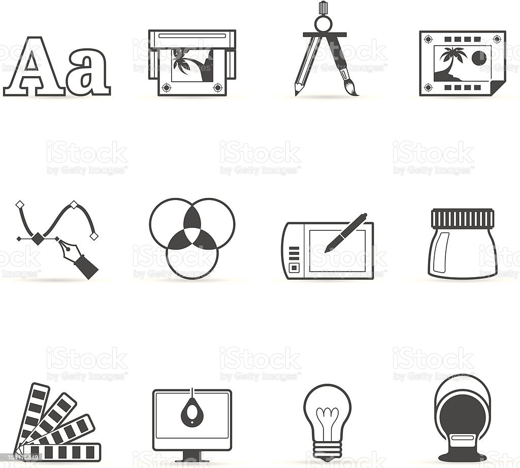 Single Color Icons - Printing & Graphic Design vector art illustration
